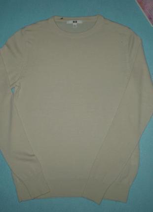 Женский тонкий свитер uniqlo s 44р. мериносовая шерсть