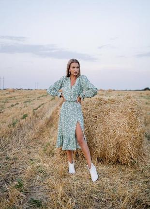Платье миди мята