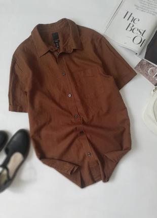 Лляна сорочка,рубашка на короткий рукав