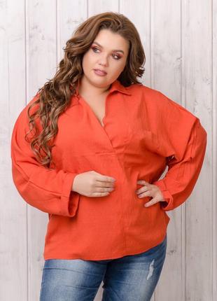 Льняная рубашка свободного кроя батал натуральный лён яркие цвета