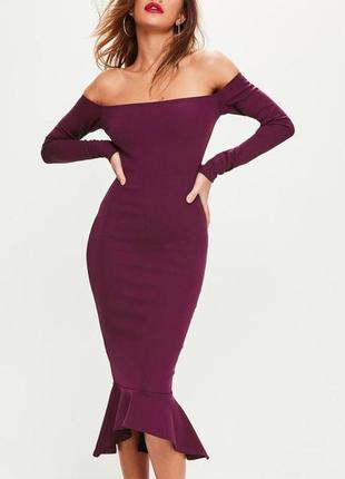 Распродажа платье asos missguided с открытыми плечами и оборкой по подолу
