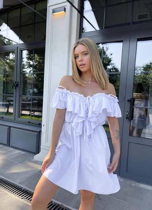 Лёгкое платье мини с воланами на груди🍥h