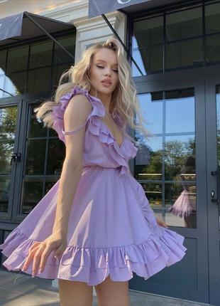Лёгкое платье-комбинация декорированное оборками🌿h