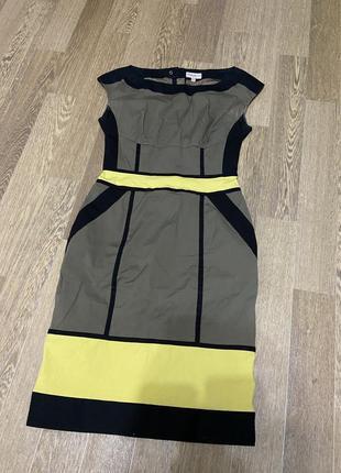 Деловое платье с желтыми вставками