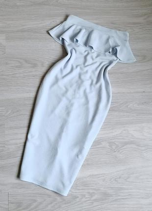 Голубое платье бюстье с рюшей и молнией на спине