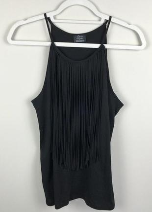 Zara черная длинная майка топ с бахромой, тренд 2021