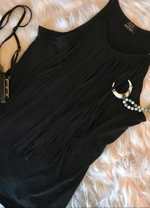 Zara черная длинная майка топ с бахромой, тренд 20213 фото