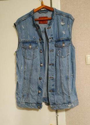 Zara женский удлиненный хлопковый джинсовый жилет