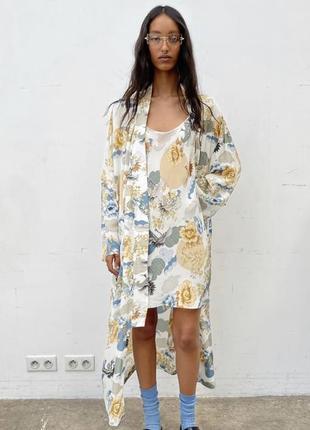 Невероятно шикарный новый длинный халат кимоно от zara