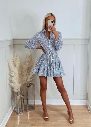 Платье короткое белое коттон в синий орнамент на пуговицах с поясом zara xs s m l