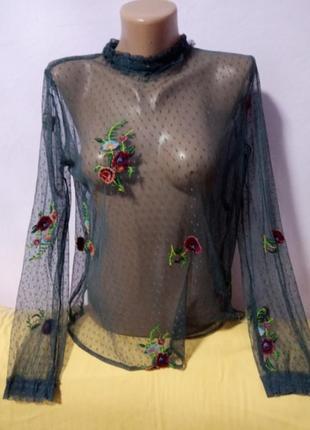 Блузка zara з вишивкою