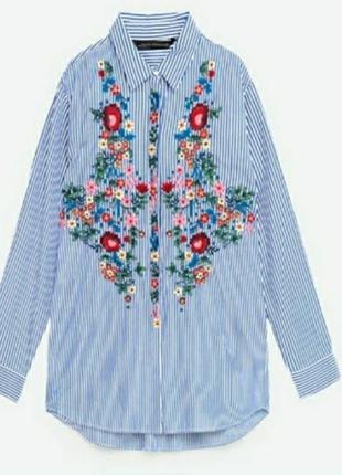 Sale стильная рубашка с вышивкой zara