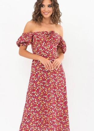 Платье-миди с разрезом в цветочный принт, бордо