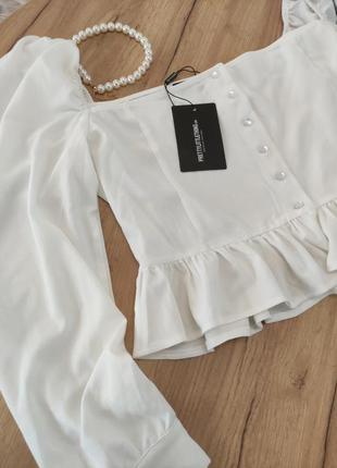 Новый белый топ с объемными рукавами prettylittlething кроп-топ, блузка с оборками (бирка!)9 фото