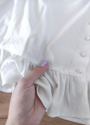 Новый белый топ с объемными рукавами prettylittlething кроп-топ, блузка с оборками (бирка!)10 фото