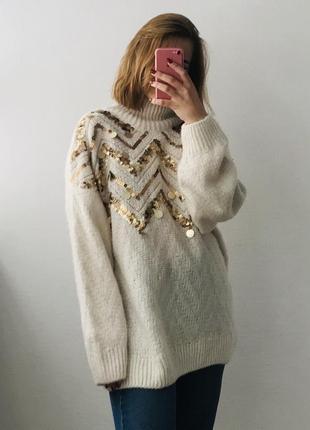 Свободный мягкий свитер с декором / большая распродажа!