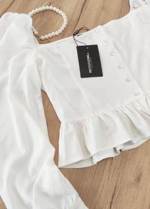 Новый белый топ с объемными рукавами prettylittlething кроп-топ, блузка с оборками (бирка!)