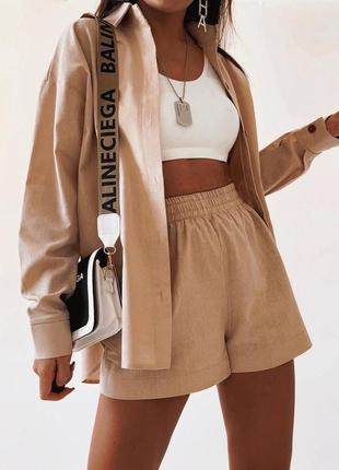 Костюм 🌾 ткань - лён - рубашка и шорты оверсайз посадка, свободного кроя резинка