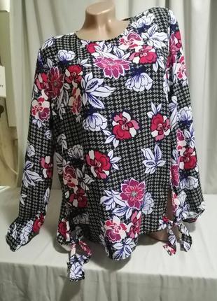 Блуза принт цветы