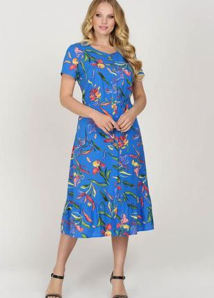 Батальное синее платье в принт | 49209
