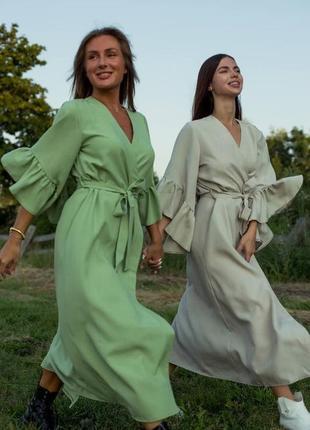 Платье на запах миди оливковое бежевое