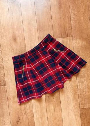 Zara классная яркая юбка в красную клетку 116-122 см 6-7 лет школьная