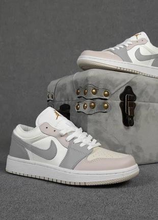 Кроссовки женские nike air jordan 1 low низкие белые / кросівки жіночі найк аир джордан білі кроссы