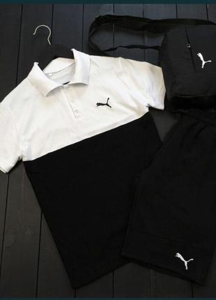 Комплект шорты+футболка  черно-белый мужской