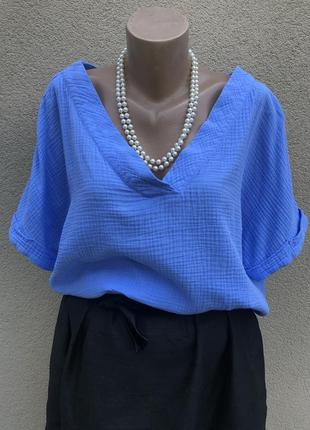 Голубая блуза реглан,хлопок-марля,этно бохо стиль,батал,большой размер