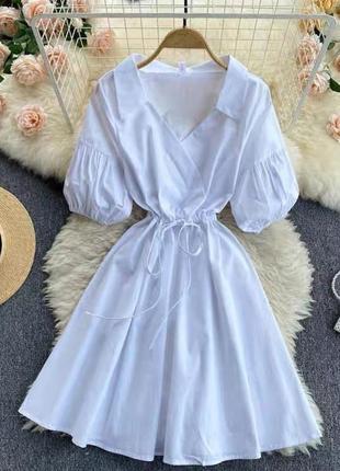 Легкое простое платье с расклешонной юбкой бенгалин
