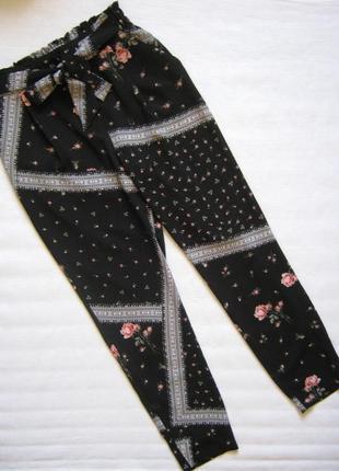 Распродажа! летние брюки на резинке с тканевым поясом, высокая посадка