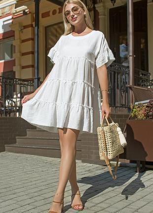 Платье летнее льняное силуэта трапеция