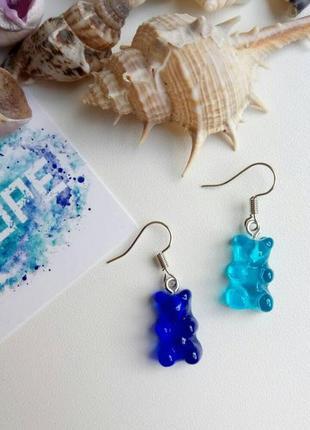 Серьги мармеладные мишки, желейные, сережки gummy bear, синие, голубые, тренд 2021