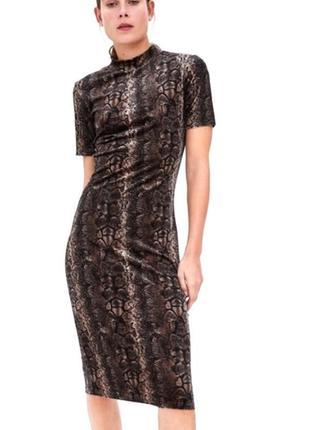 Zara трендовое платье по фигуре в анималистический принт