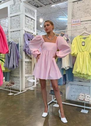 Платье свободное, нарядное, с пышным длинным рукавом, 394/124, розовый