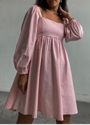 Платье свободное, нарядное, с пышным длинным рукавом, 394/124, пудра
