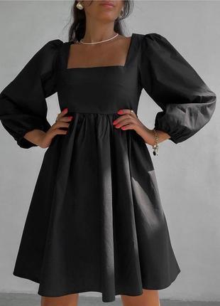 Платье свободное, нарядное, с пышным длинным рукавом, 394/124, черный