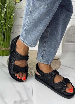 Женские босоножки на липучках массажная стелька натуральная кожа стеганая цвет черный