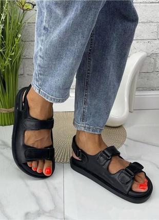 Женские босоножки на липучках массажная стелька натуральная кожа цвет черный
