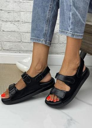 Женские босоножки на липучках массажная стелька натуральная кожа цвет черный2 фото