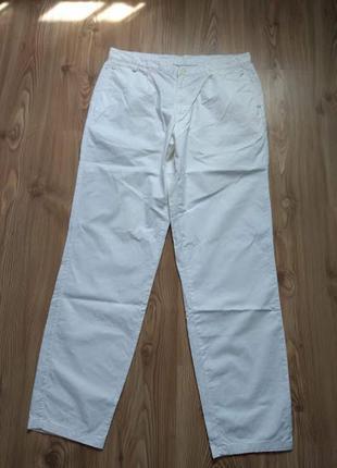 Актуальні, натуральні, білі брюки/слоучі р. 46/54 (м/l