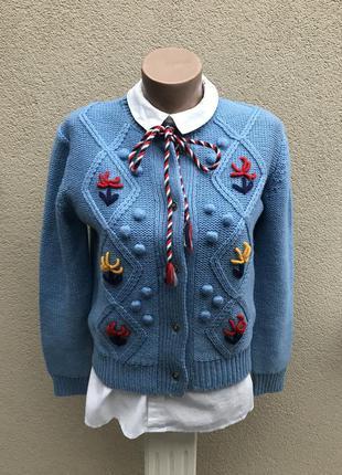 Очень красивый вязаный,веселый,рождественский кардиган,кофта с вышивкой,шерсть+ акрил