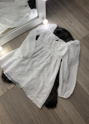 Белое платье с длинным рукавом новое стильное na-kd