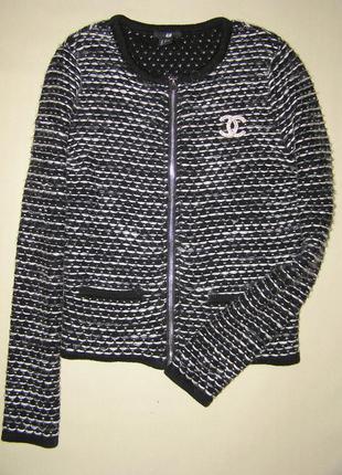 Кардиган в стиле коко шанель  шерсть альпака мохер на размер 38-40 евро m/l  h&m