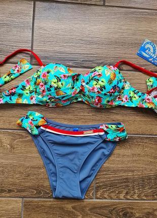 Шикарный яркий купальник бандо ананасики много цветов.