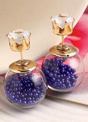 🏵красивые серьги шарики пуссеты с кристаллами и шариками, новые! арт.9501