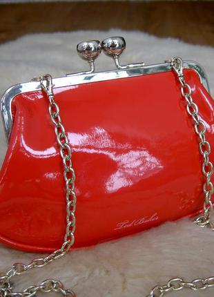 Брендовый яркий кожаный сумочка-клатч мини ted baker. оригинал
