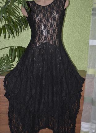 Шикарное стильное нарядное стрейч гипюровое платье