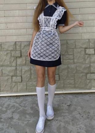 Форма школьная ссср с белым фартуком передник xxs-xxl выпускница ретро
