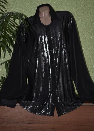 Нарядная черная блуза - рубашка